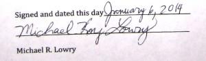 Michael Lowry's signature