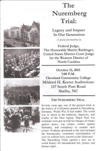 Judge Reidinger speaks on the Nuremberg Trial